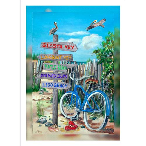Blue Bike Beach Signs 20 x 30 Canvas Sarasota area)