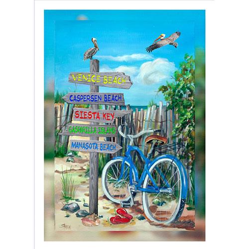 Blue Bike Beach Signs 20 x 30 Canvas Venice area)