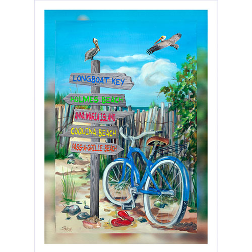 Blue Bike Beach Signs 20 x 30 Canvas Bradenton area)