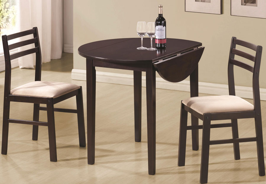 Coaster Drop Leaf Table and 2 Side Chairs in Cappuccino