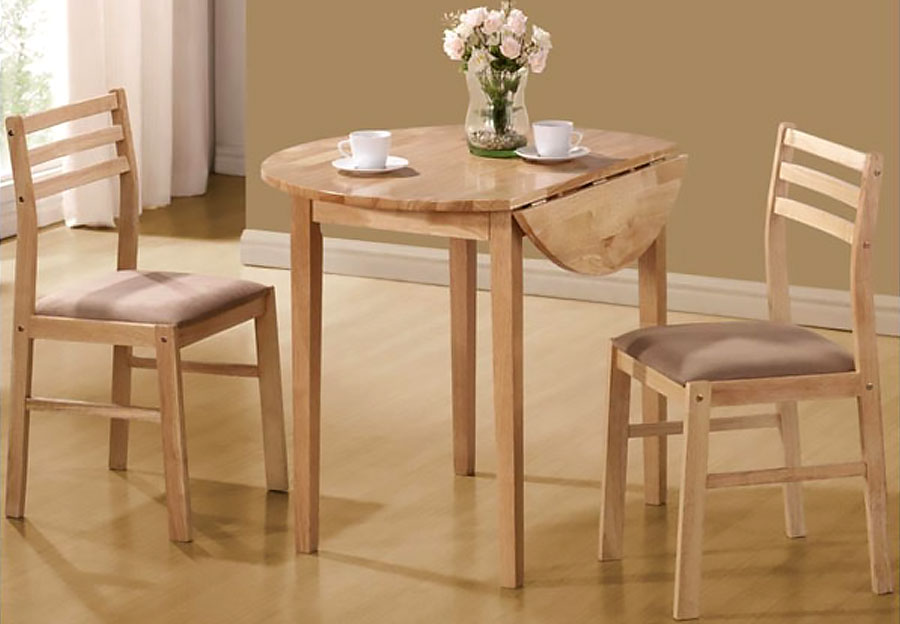 Coaster 3pc Drop Leaf Table and 2 Side Chairs in Natural Finish