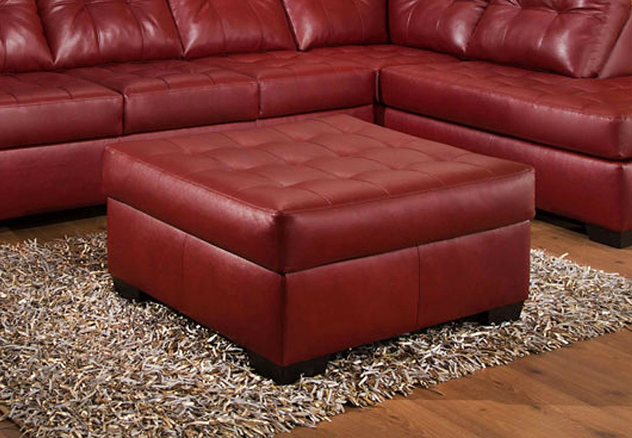 Simmons SoHo Cardinal Showtime Breathable Leather Cocktail Ottoman