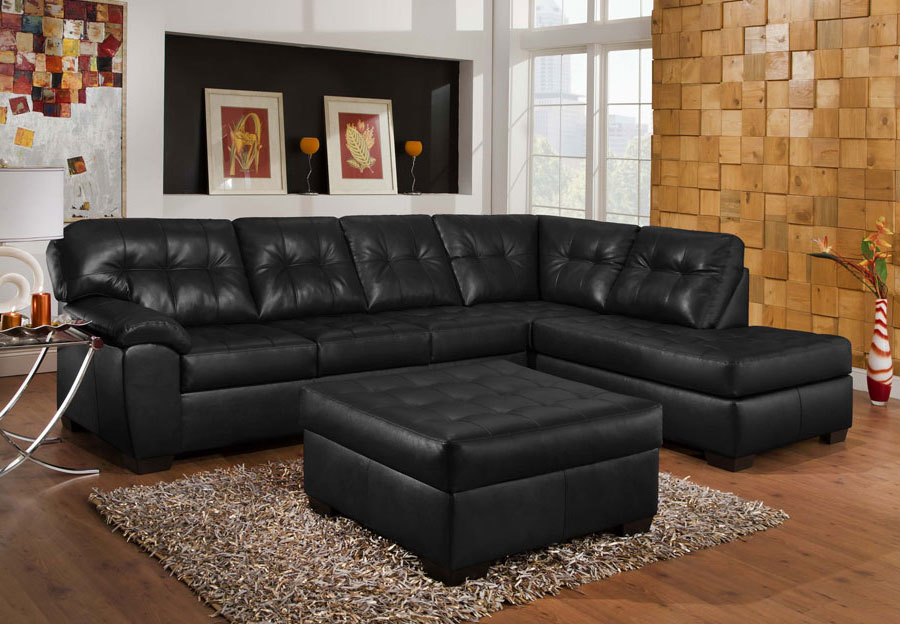 Simmons SoHo Onyx Showtime Breathable Leather Chaise Sofa Sectional with Cocktail Ottoman