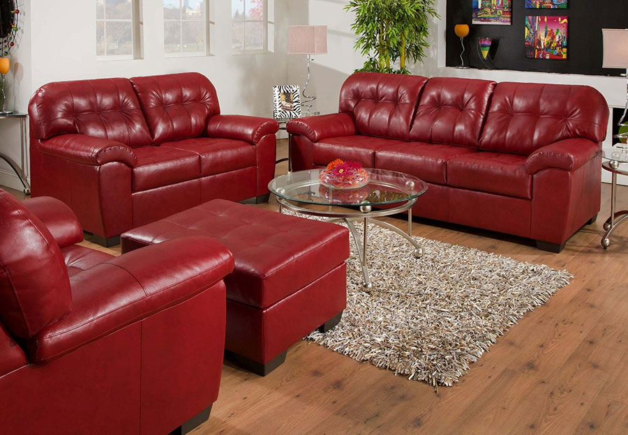 Simmons SoHo Cardinal Showtime Breathable Leather Sofa and Loveseat