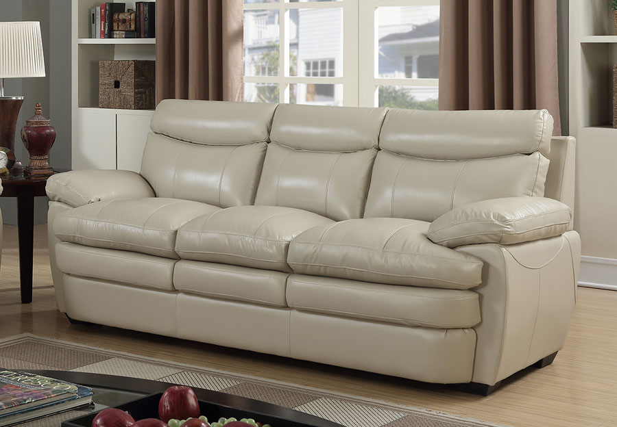 Elements Wallace Cream Leather Sofa