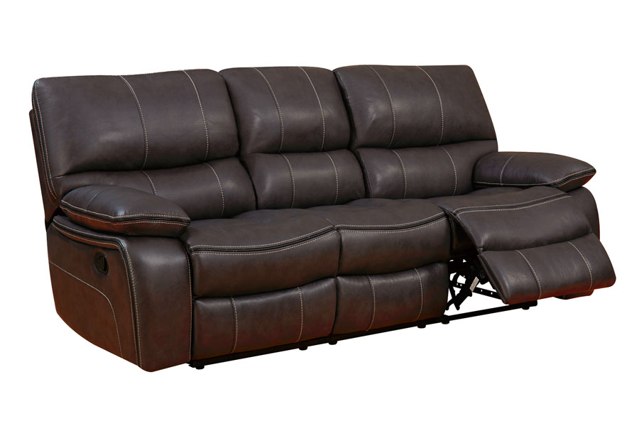Global Expresso Brown Reclining Sofa in Leather Gel