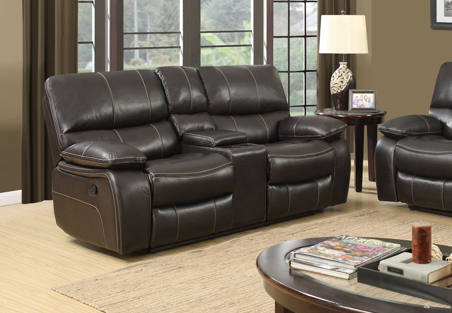 Global Expresso Brown Power Console Reclining Loveseat in Leather Gel