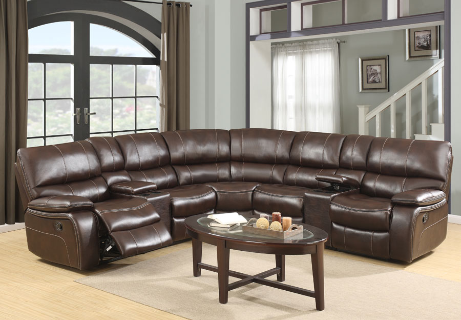 Global Expresso Brown Reclining Sectional in Leather Gel