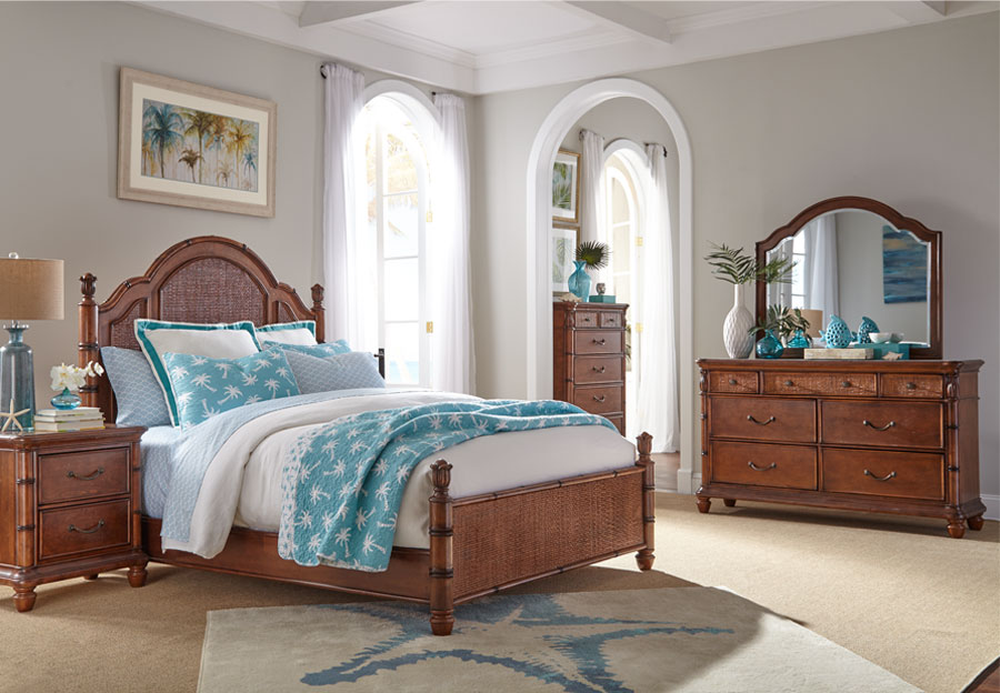Panama Jack Brown Isle of Palms King Headboard, Footboard, Rails, Dresser, and Mirror