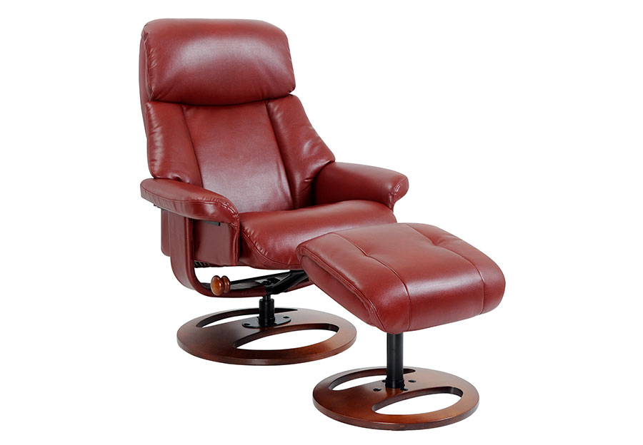 Benchmaster Swivel Chair with Ottoman in Ruby