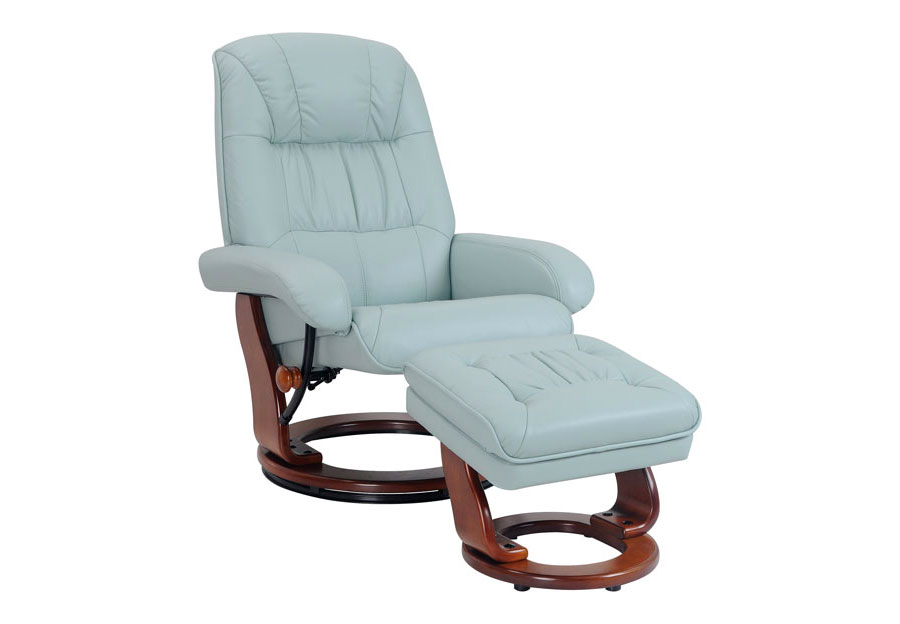 Benchmaster Pastel Blue Top Grain Leather Stressfree Chair and Ottoman