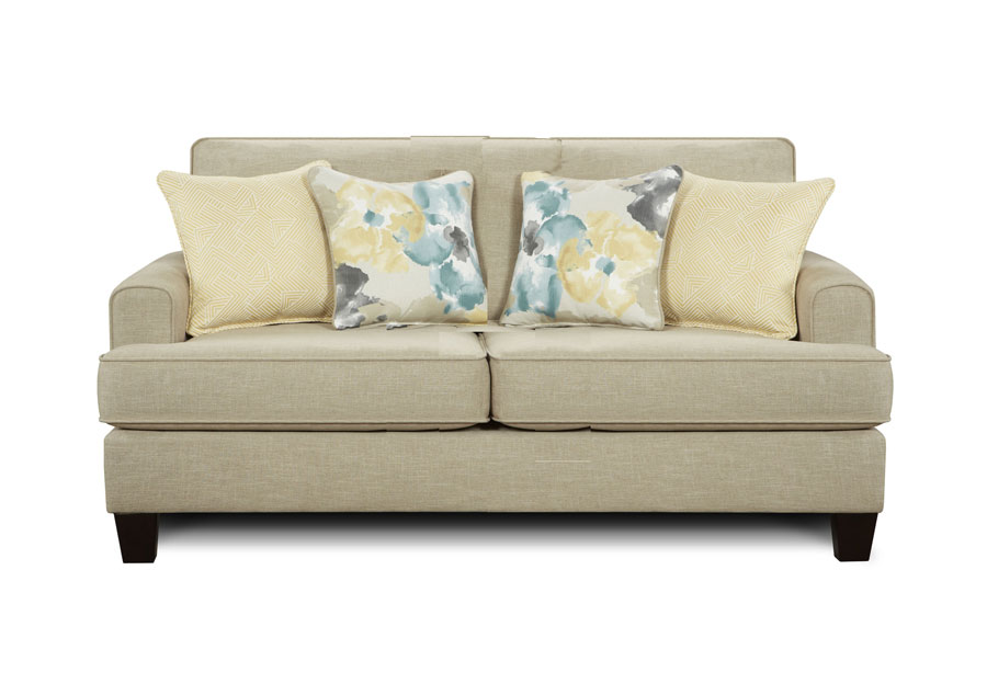 Fusion Paradigm Hemp Loveseat with Aptura Flora Dew and Andfolded Maze Zest Accent pillows