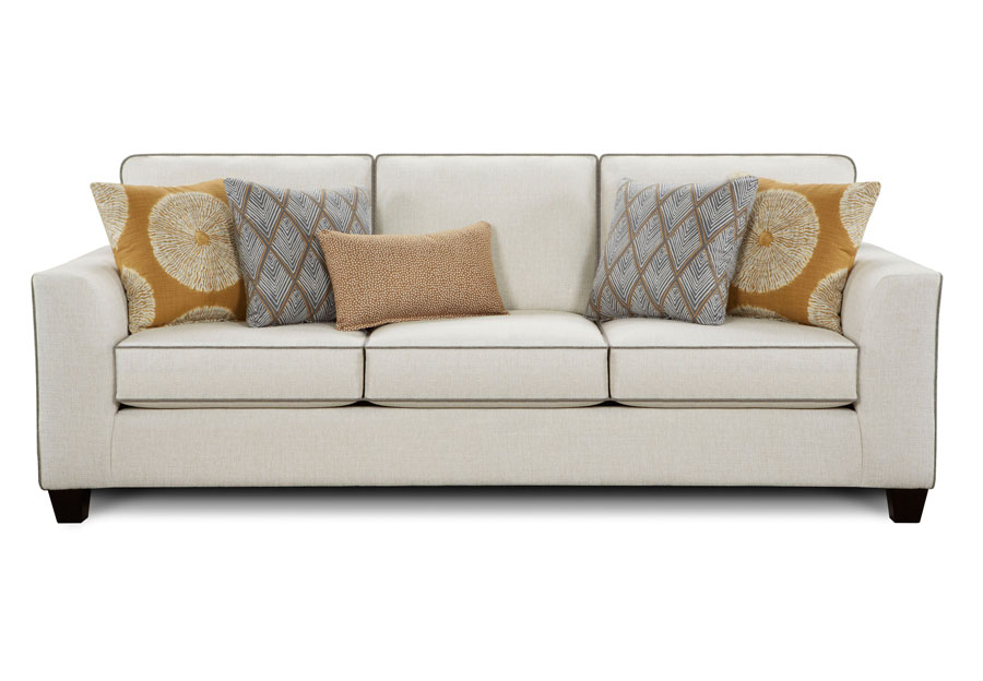 Fusion Sugarshack Glacier Sofa with Shibori Sol Amber, Rhonbi Greyston, and Flicker Amber Accent Pillows