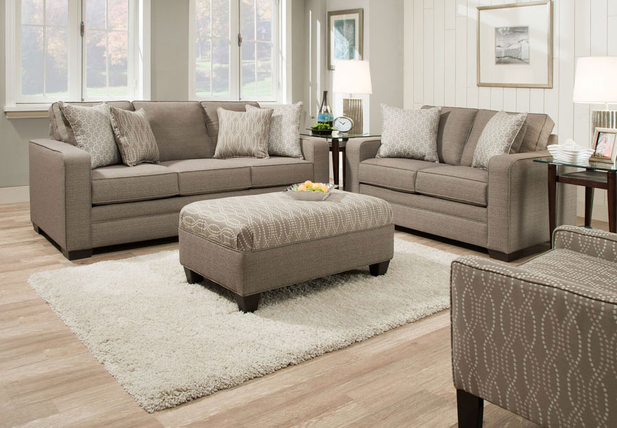 Simmons Upholstery Seguin Pewter Sofa and Loveseat