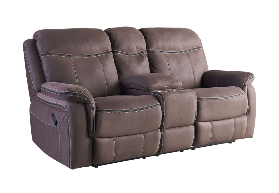 Standard Furniture Champion Brown Reclining Console Loveseat