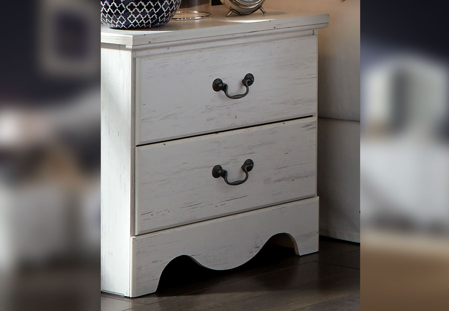 Standard Two Drawer Nightstand Taylor White