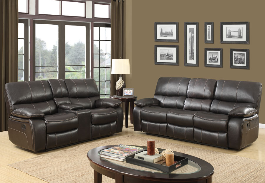 Global Expresso Brown Reclining Sofa and Reclining Console loveseat in Leather Gel