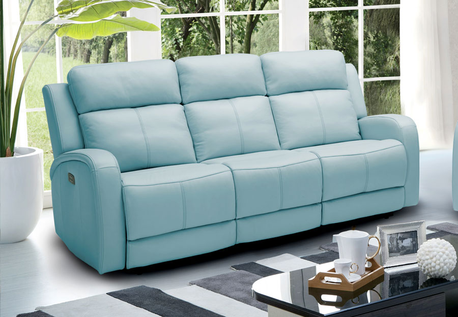 Kuka Milano M1219 Light Blue Reclining Sofa - Leather Match