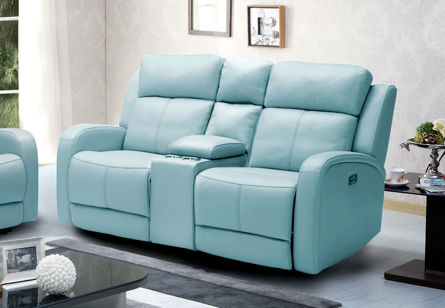 Kuka Milano M1219 Light Blue Reclining Console Loveseat - Leather Match