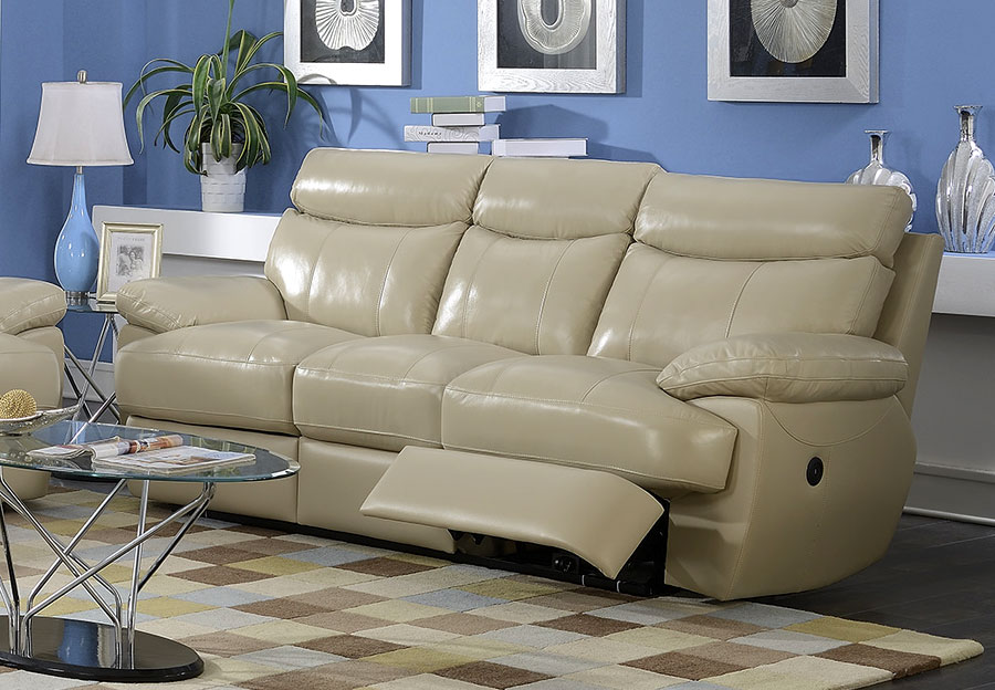 Elements Trudeau Power Reclining Sofa - Cream Leather Match
