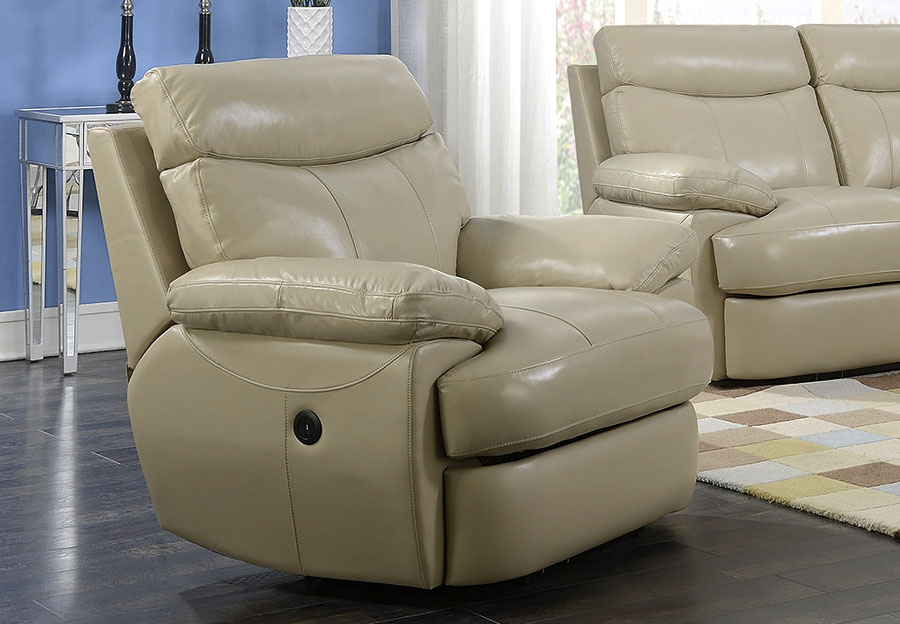 Elements Trudeau Recliner - Cream Leather Match