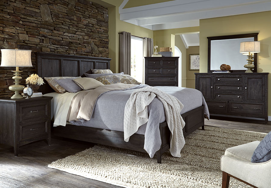 Magnussen Mill River 5pc Queen Bedroom Set, Weathered Charcoal Finish.