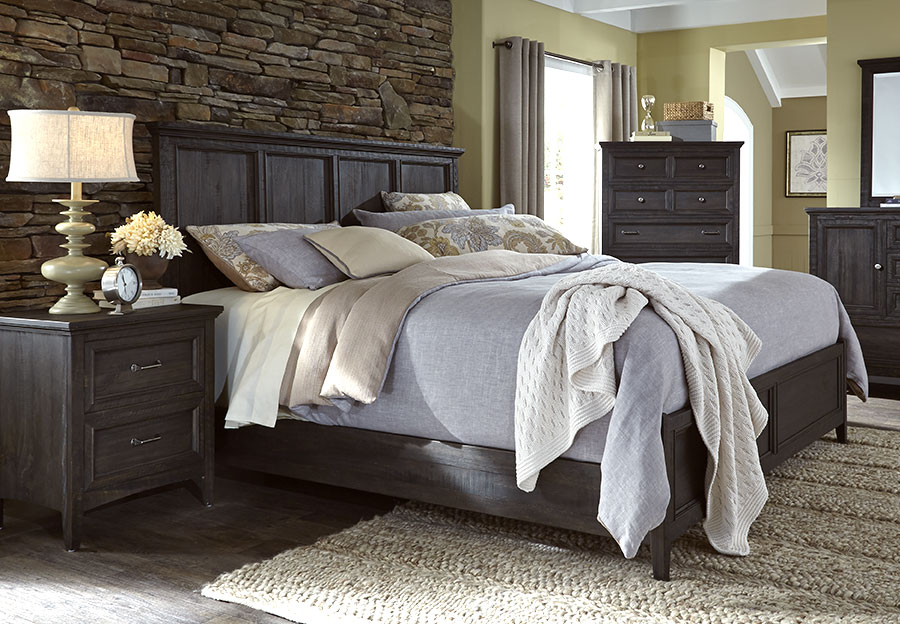 Magnussen Mill River 3 Piece King Bed Set, Weathered Charcoal Finish.