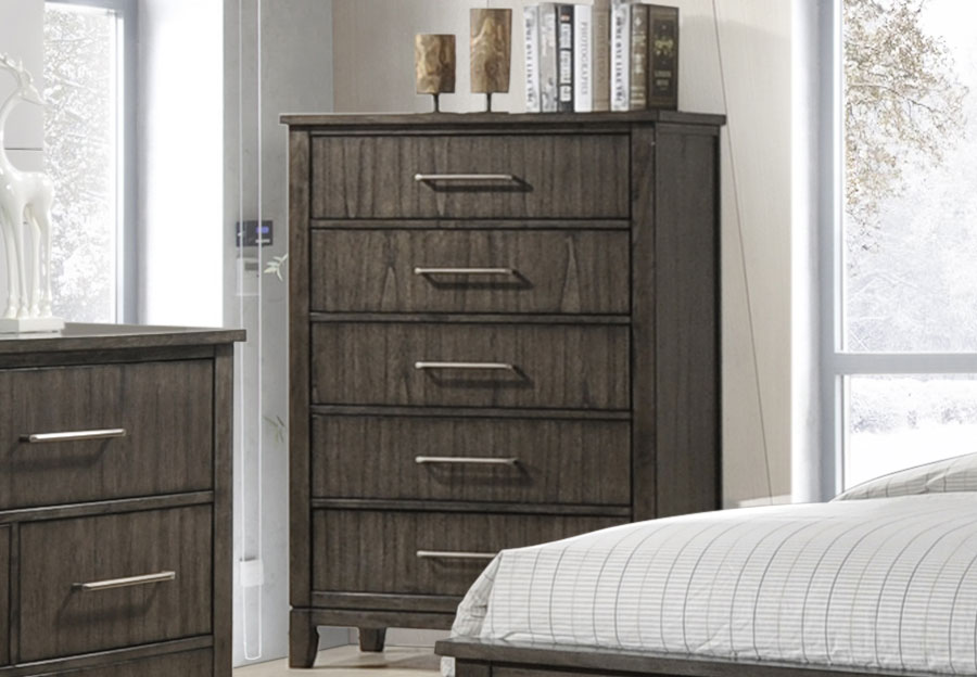 Simmons Preston Grey Five Drawer Chest