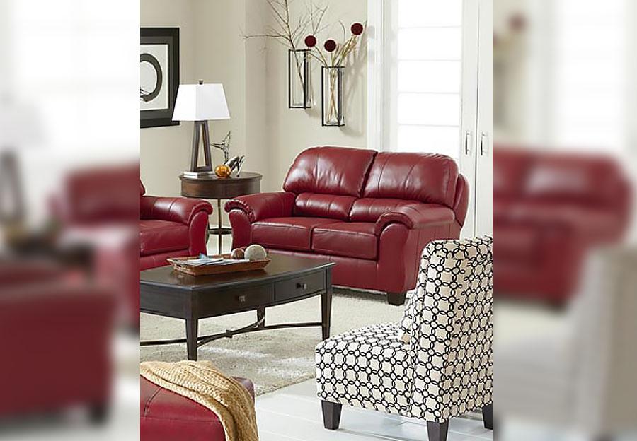 Best Birkett Burgundy Red Loveseat Leather Match